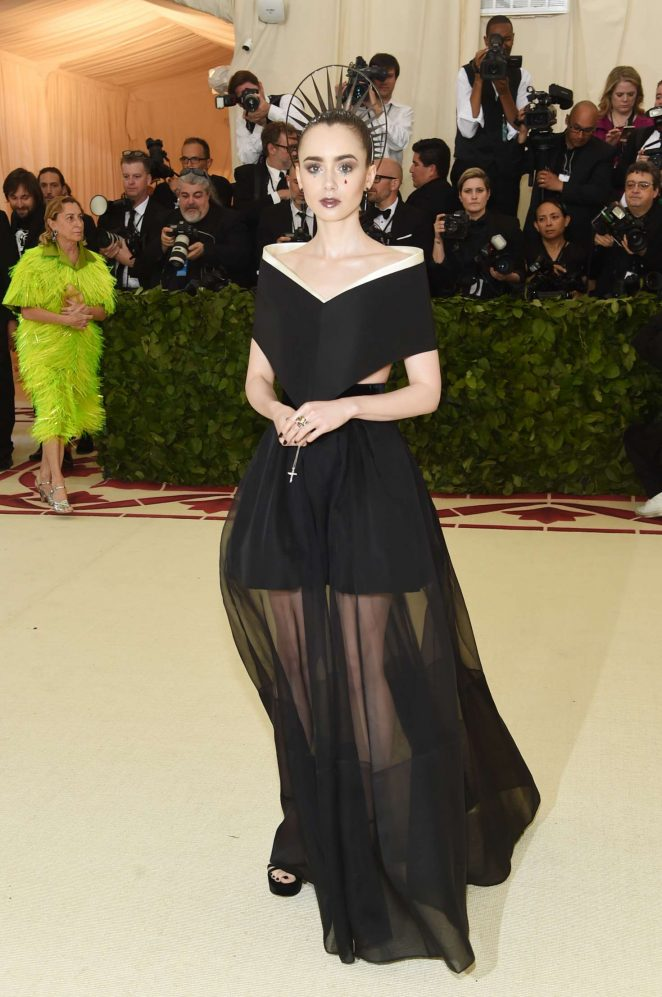 lily collins 2018 met gala 03 662x997 And the Theme for the 2018 Met Gala is... Catholicism?