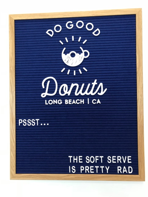 welcome to do good donuts Now serving soft serve ice cream in Long Beach