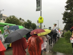Staff and teachers on the picket line in front of Manual Arts Senior High School on the first day of the strike.