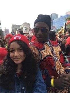 Melissa Diaz, left, with musician Aloe Blacc at the UTLA Rally on Jan. 18. (Photo by Melissa Diaz)