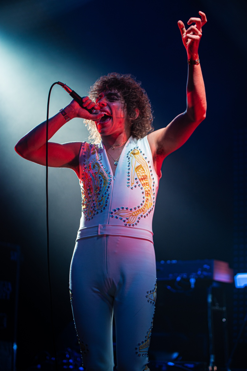 Josh Kiszka onstage during the first of Greta Van Fleet's two sold-out shows the Hollywood Palladium (Ashley Ramynke / L.A. Times College Insider)