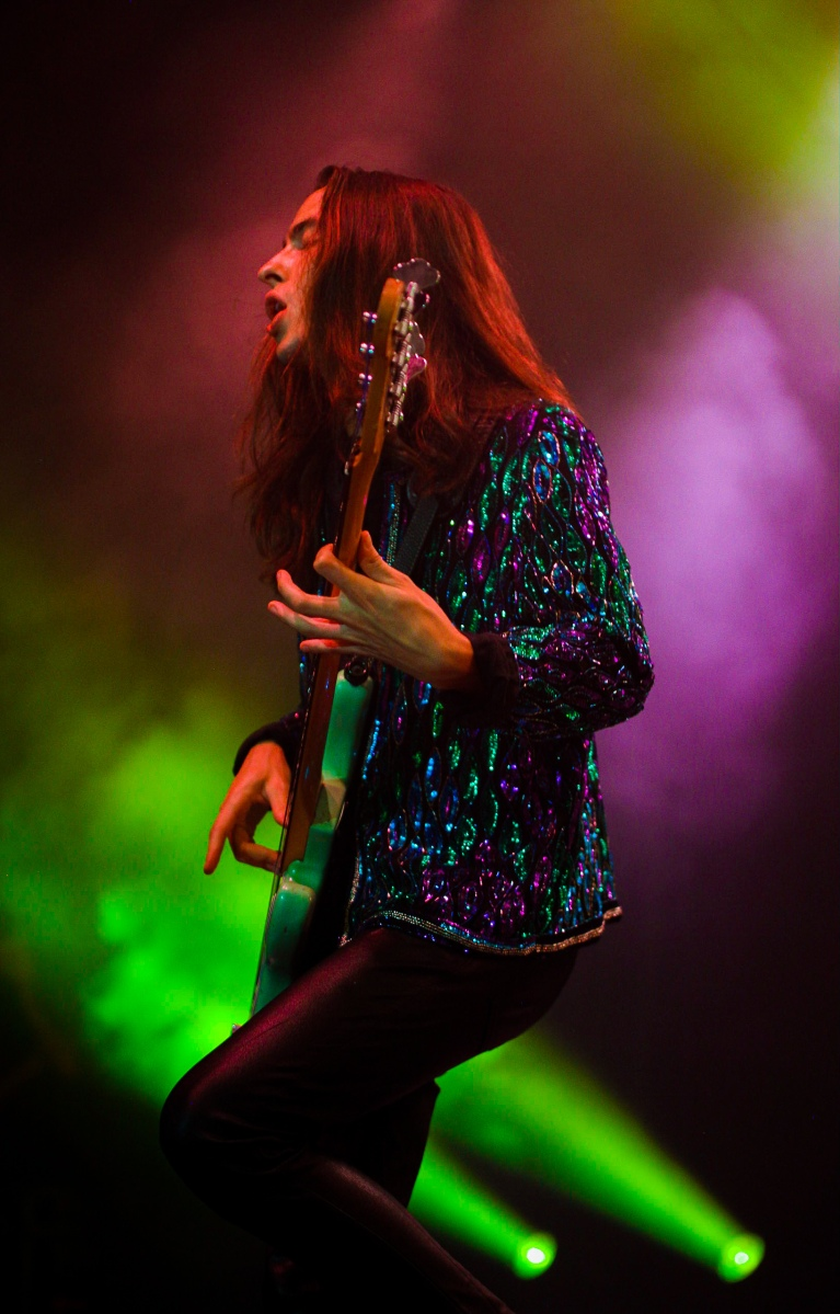 Sam Kiszka onstage during the first of Greta Van Fleet's two sold-out shows the Hollywood Palladium (Ashley Ramynke / L.A. Times College Insider)