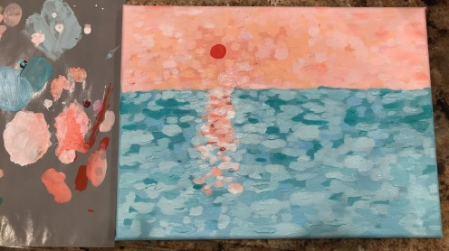 Inspired by Monet's impressionist style, I painted an ocean sunrise. (Photo by Avery Pak)